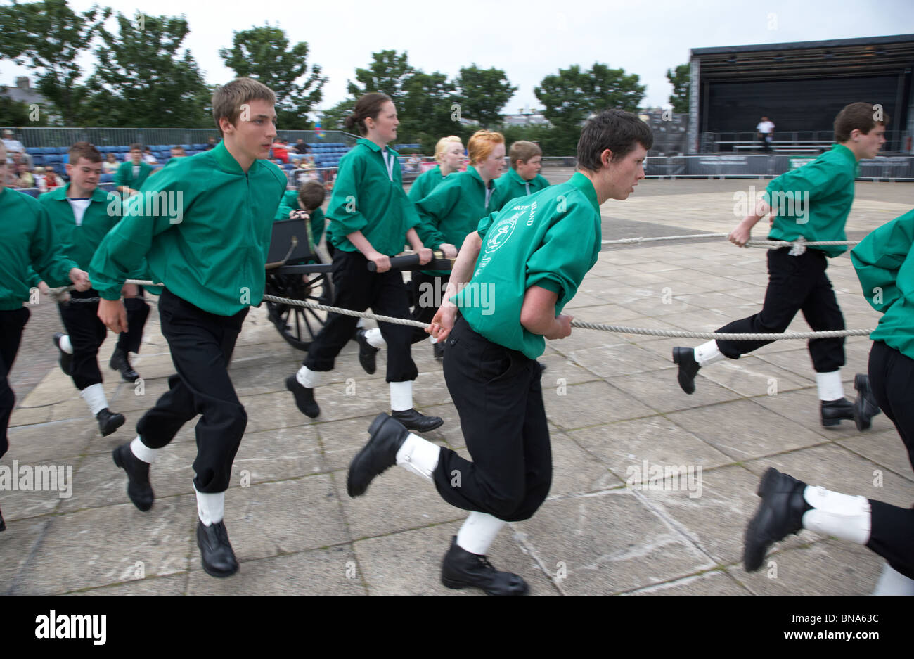 northern ireland sea cadets field gun display team on armed forces day 2010 in bangor northern ireland - Stock Image