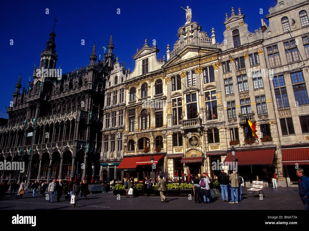 People, Guild Houses, Grand Place, city of Brussels, Brussels Capital Region, Belgium, Europe Stock Photo