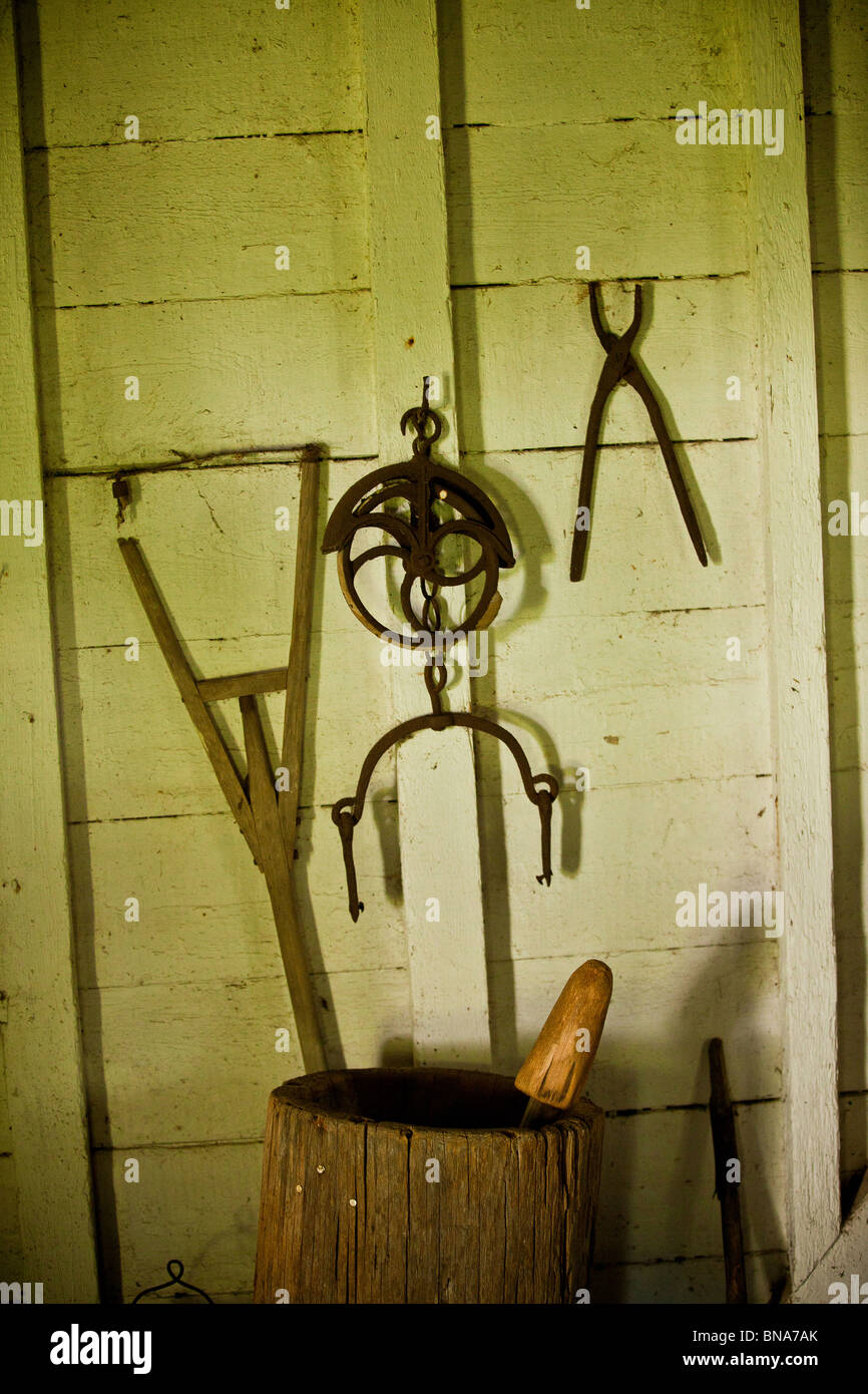 Hand tools once used by slaves on display at Hopsewee Plantation in Georgetown, SC. - Stock Image