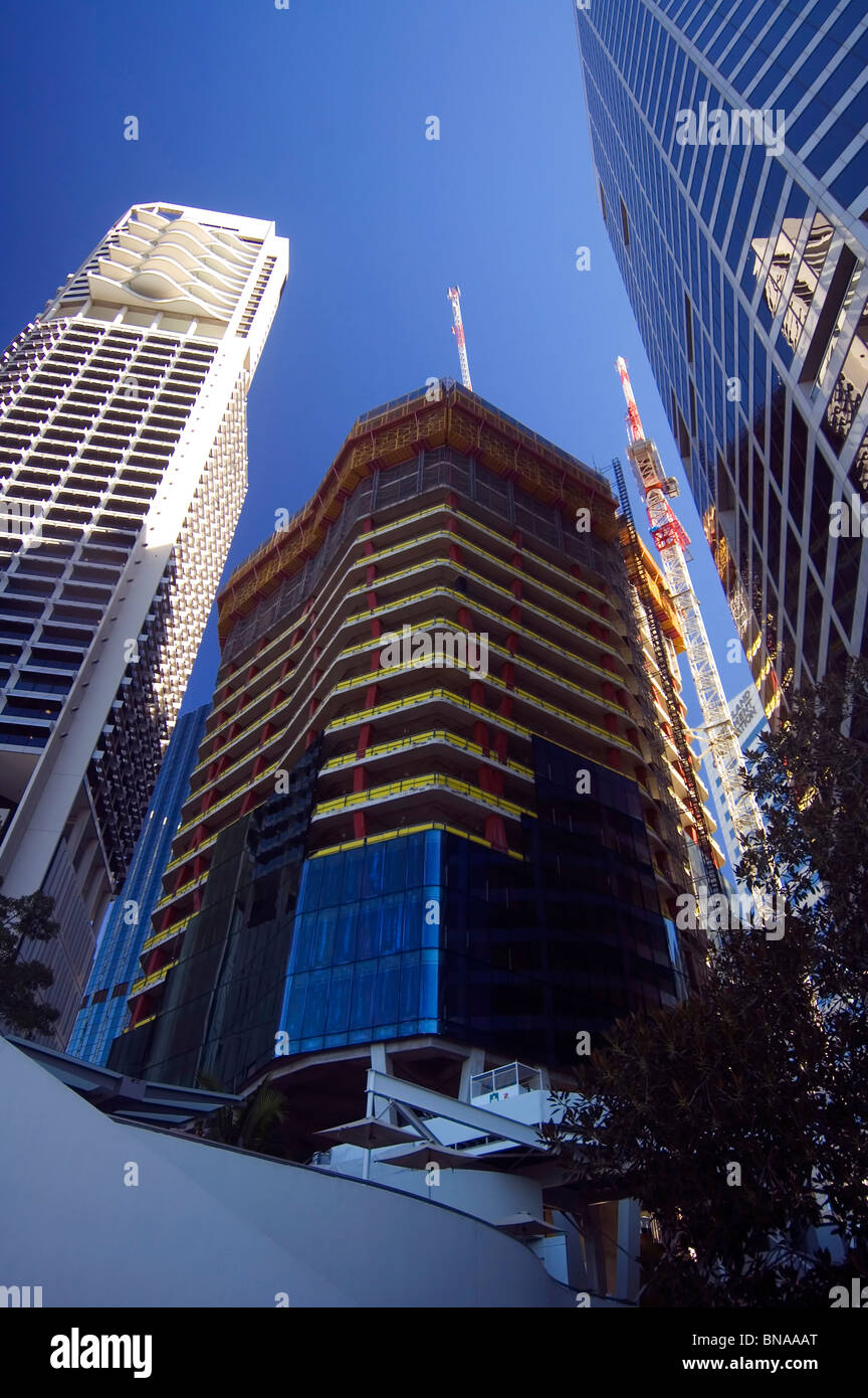 New highrise under construction, Brisbane CBD, Queensland, Australia. No PR - Stock Image