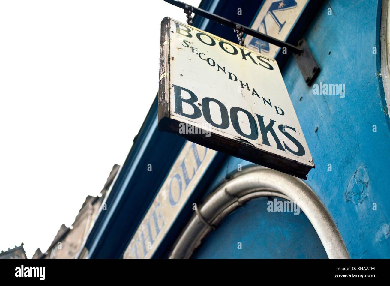 A secondhand bookshop sign, Edinburgh, Scotland - Stock Image