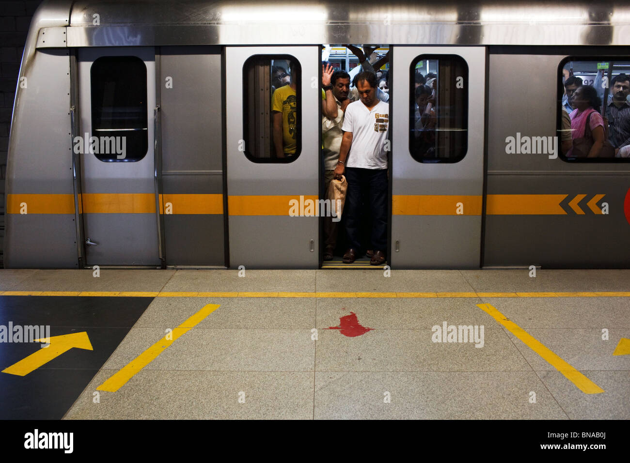 New Delhi Metro station in Delhi, India. - Stock Image