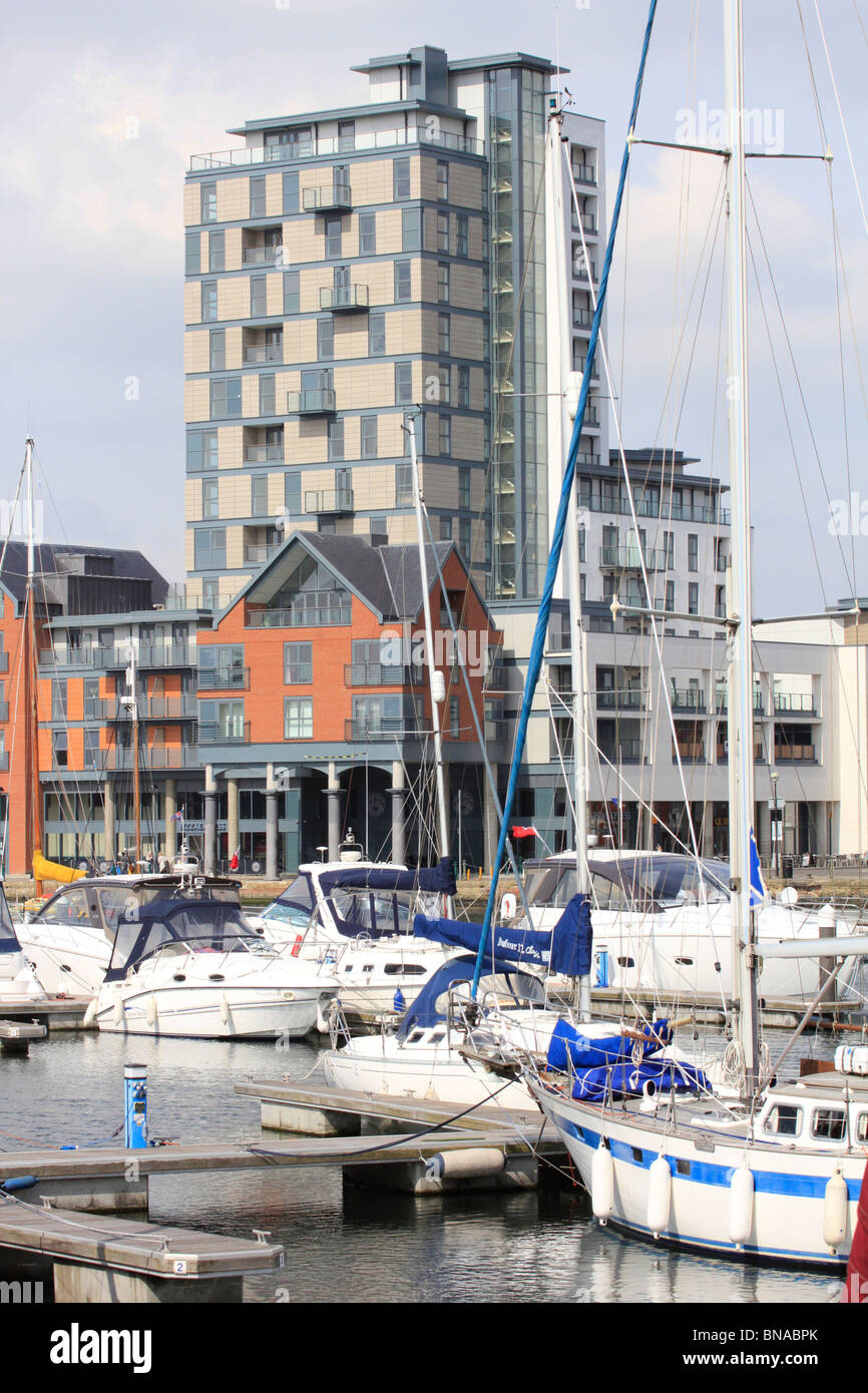 Ipswich Haven Marina is the award-winning 250-berth facility situated in the Wet Dock at the Port of Ipswich. - Stock Image