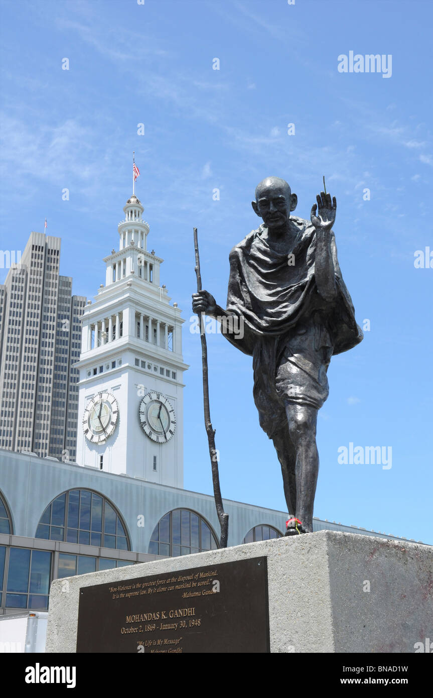 Statue of Mohandas Gandhi by the Ferry Building, San Francisco, California, USA - Stock Image