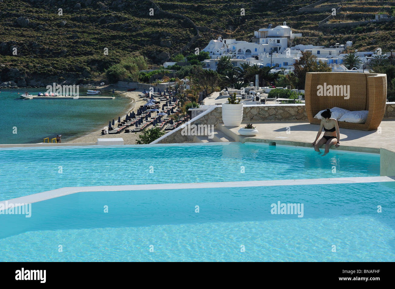 Best Island Beaches For Partying Mykonos St Barts: Psarou Beach And Mykonos Stock Photos & Psarou Beach And