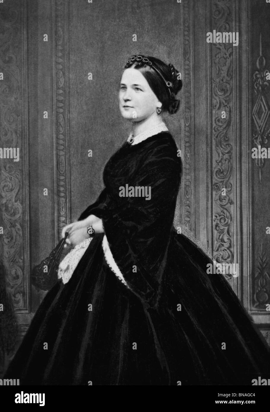 Portrait photo c1860s of Mary Todd Lincoln (1818 - 1882) - wife of US President Abraham Lincoln + First Lady from - Stock Image