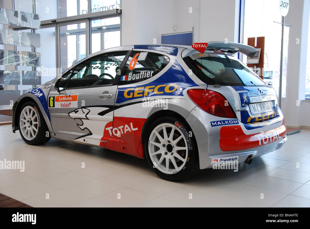 peugeot 207 s2000 - bryan bouffier rally car - exterior stock photo