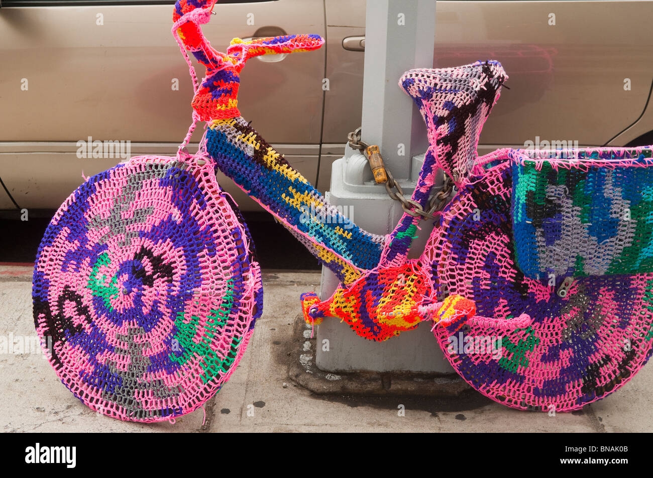 Knitted Bike - Stock Image