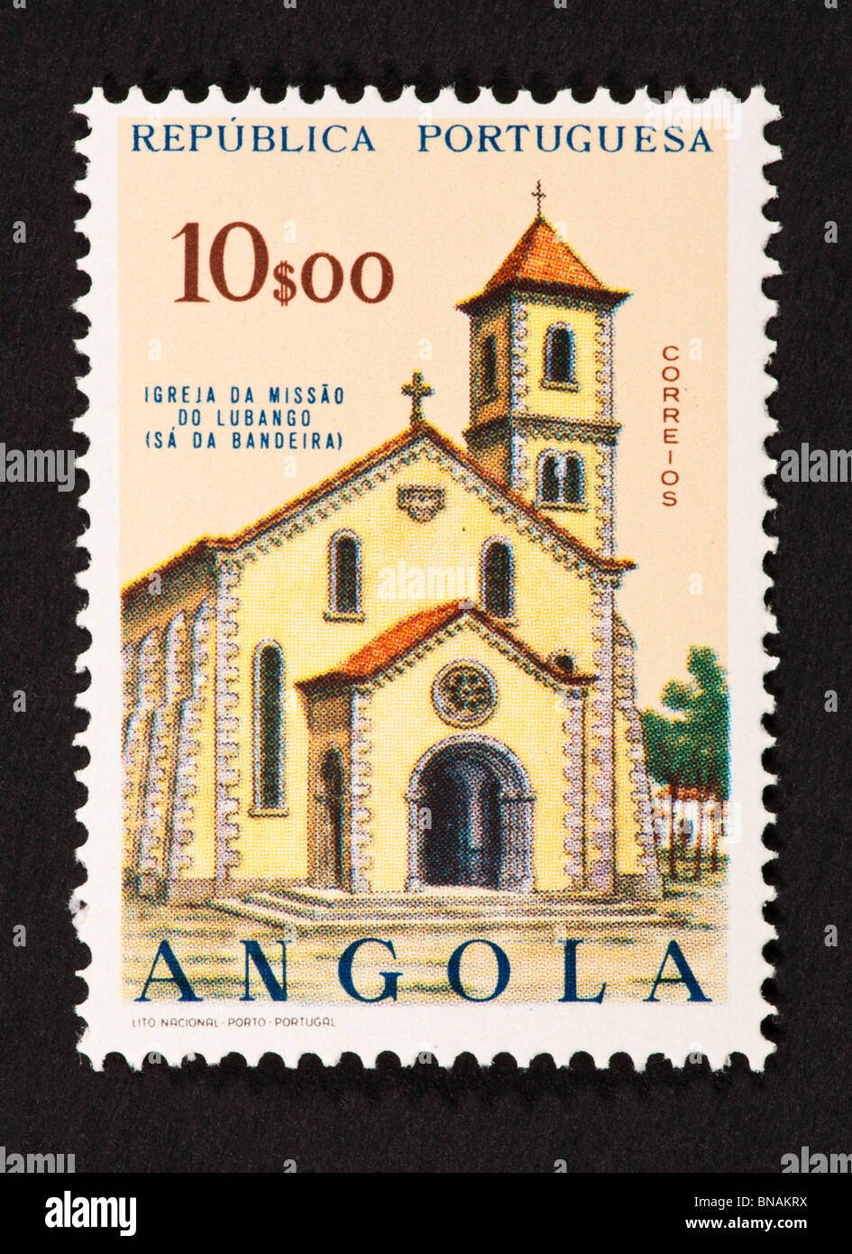 Postage stamp from Angola depicting the Lubango Mission. - Stock Image