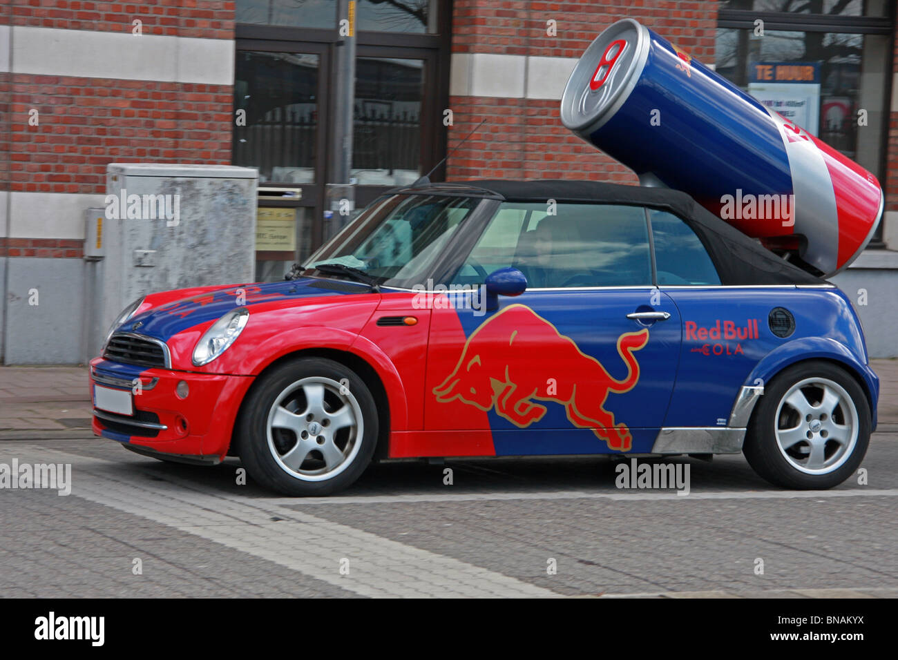 Belgium, Antwerp Red Bull car - Stock Image