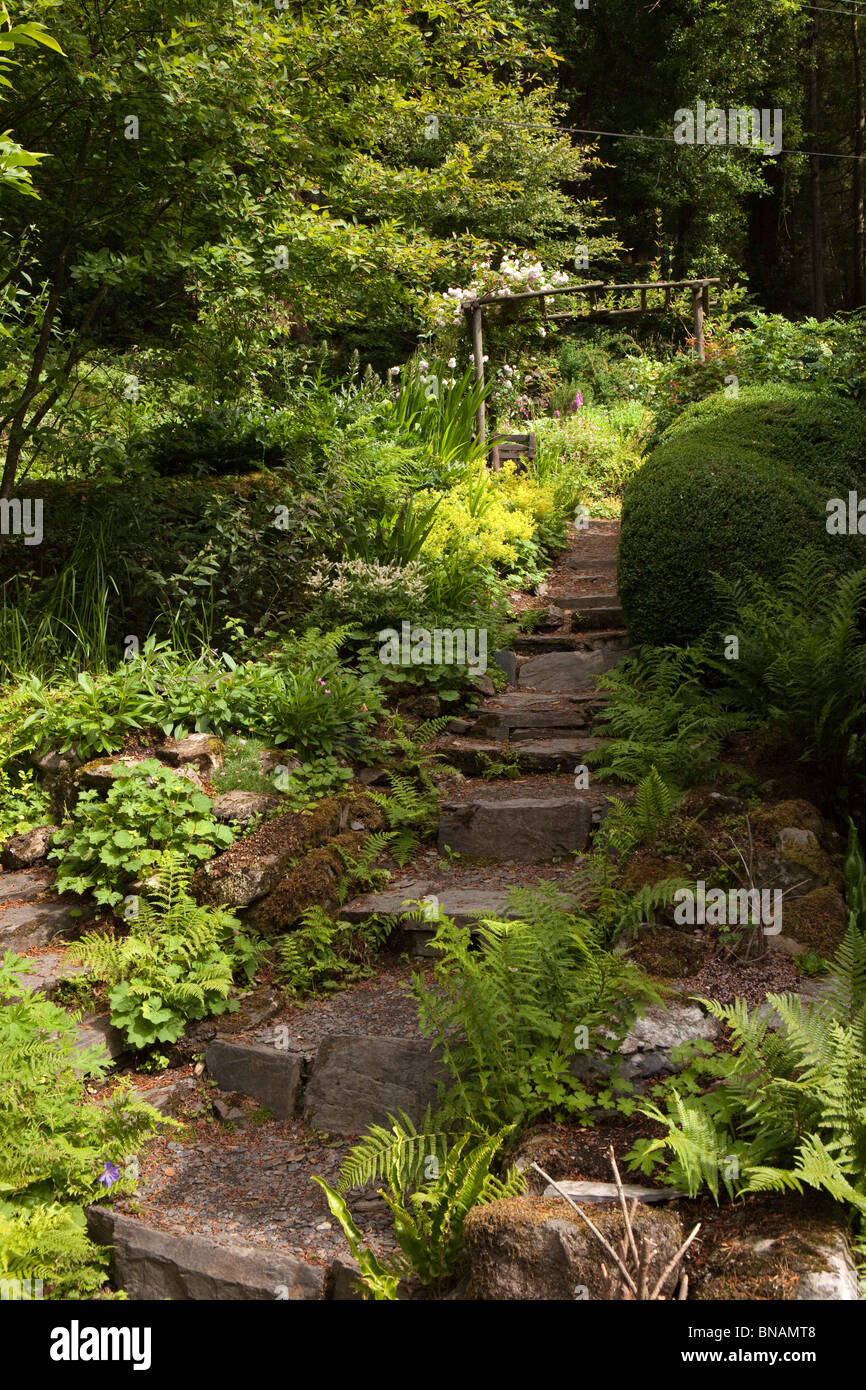 UK, Wales, Snowdonia, Capel Curig, Ty Hyll, the Ugly House garden - Stock Image