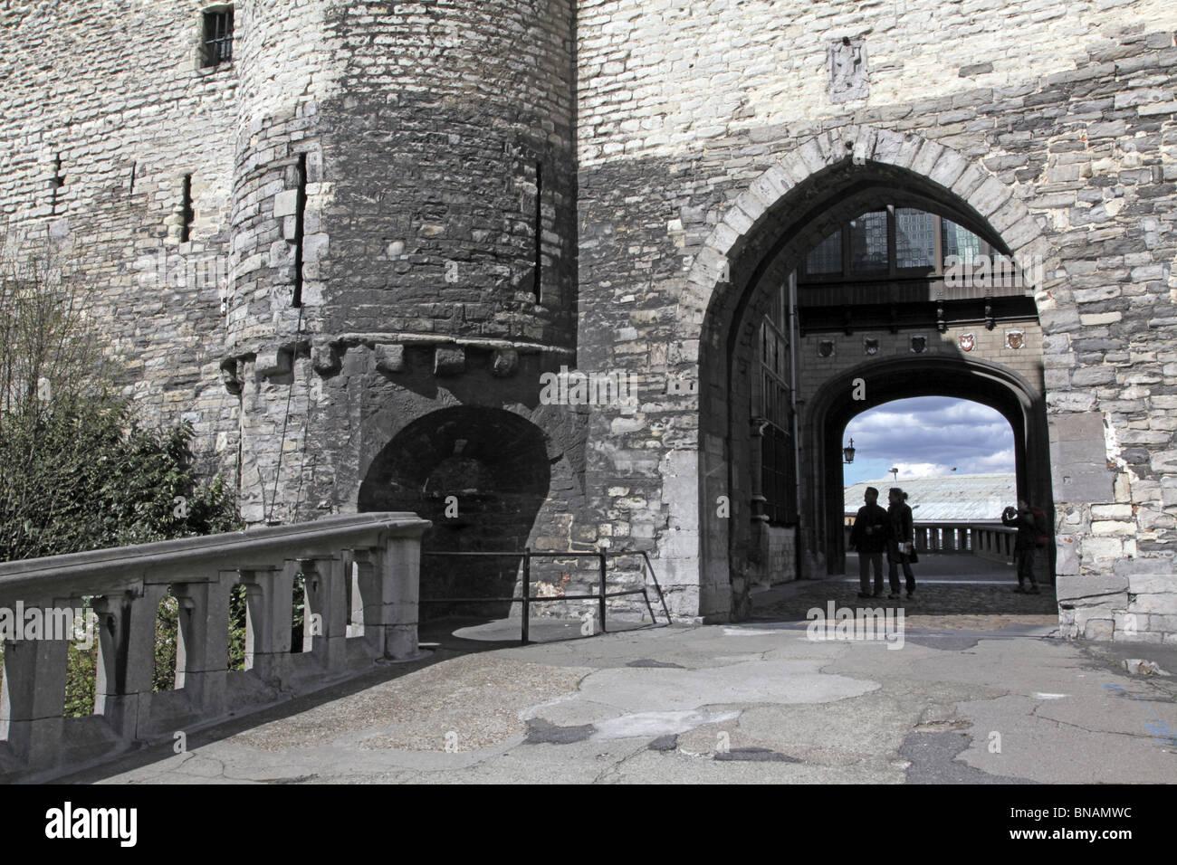 Het Steen, or stone fortification in the harbour of Antwerp - Stock Image