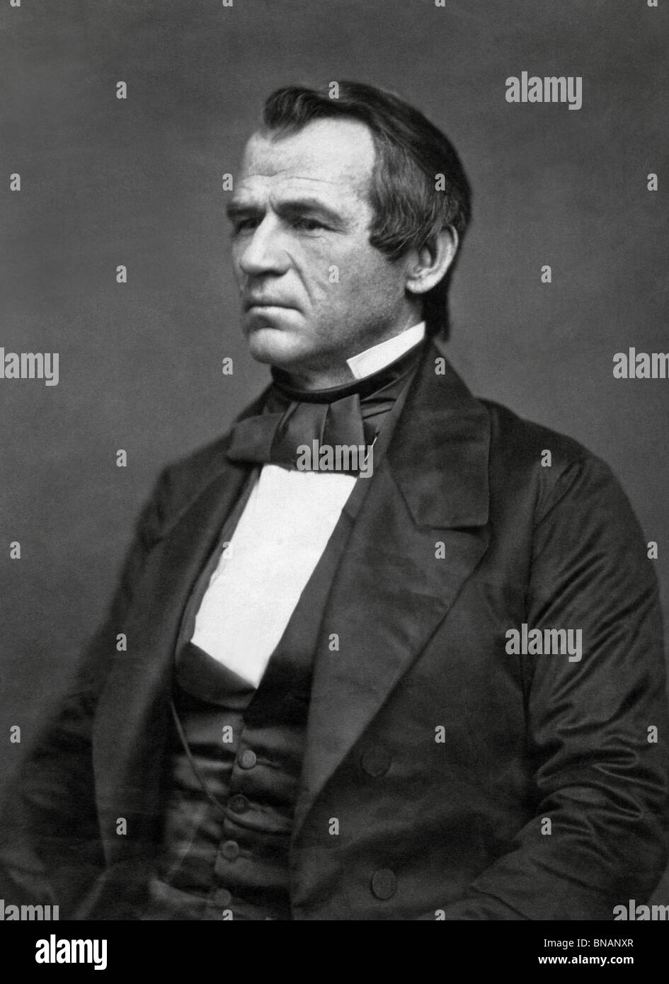 Portrait photo circa 1860 of Andrew Johnson (1808 - 1875) - the 17th US President (1865 - 1869) and first to be - Stock Image