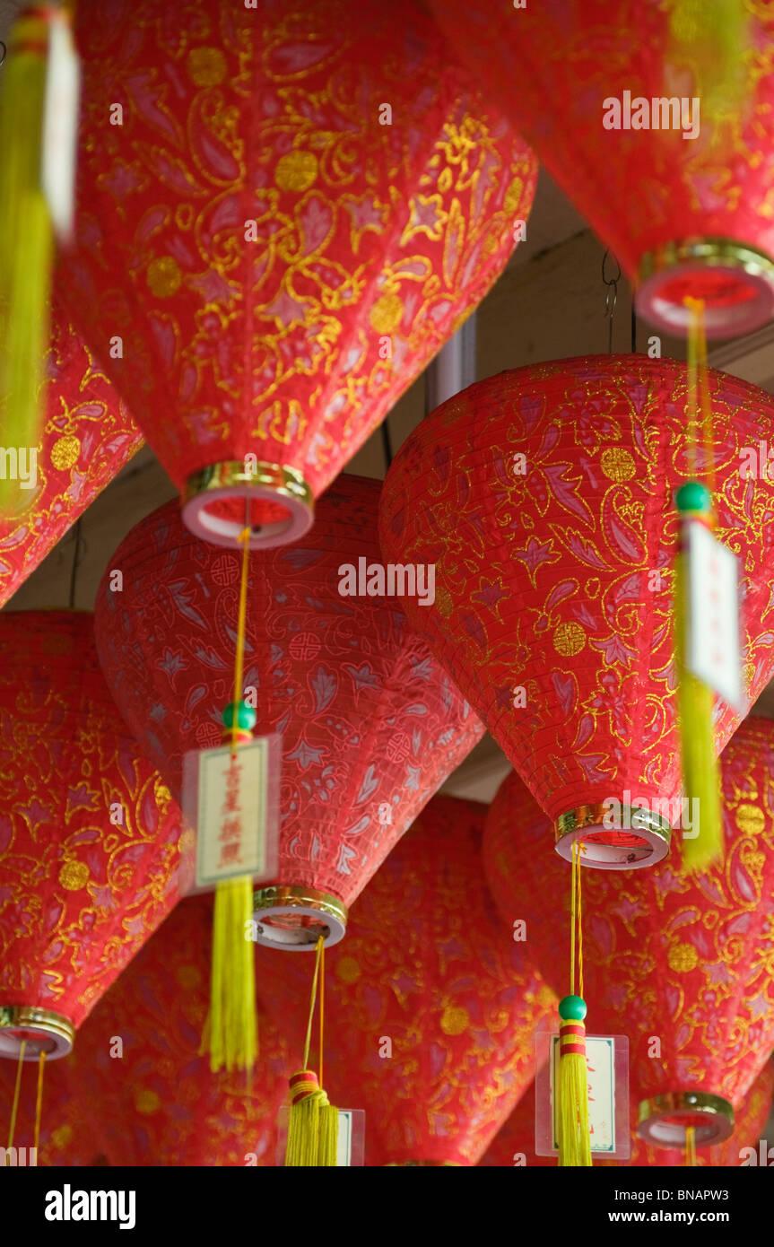 Red lanterns Chinatown Malacca Melaka Malaysia - Stock Image