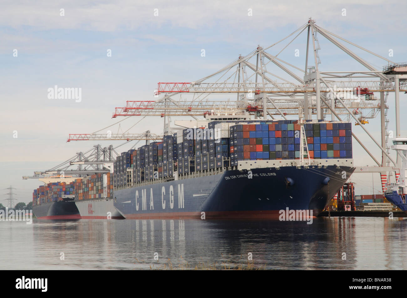 One of the worlds largest container ships the CMA CGM Christophe Colomb on the quayside at DP World Southampton - Stock Image