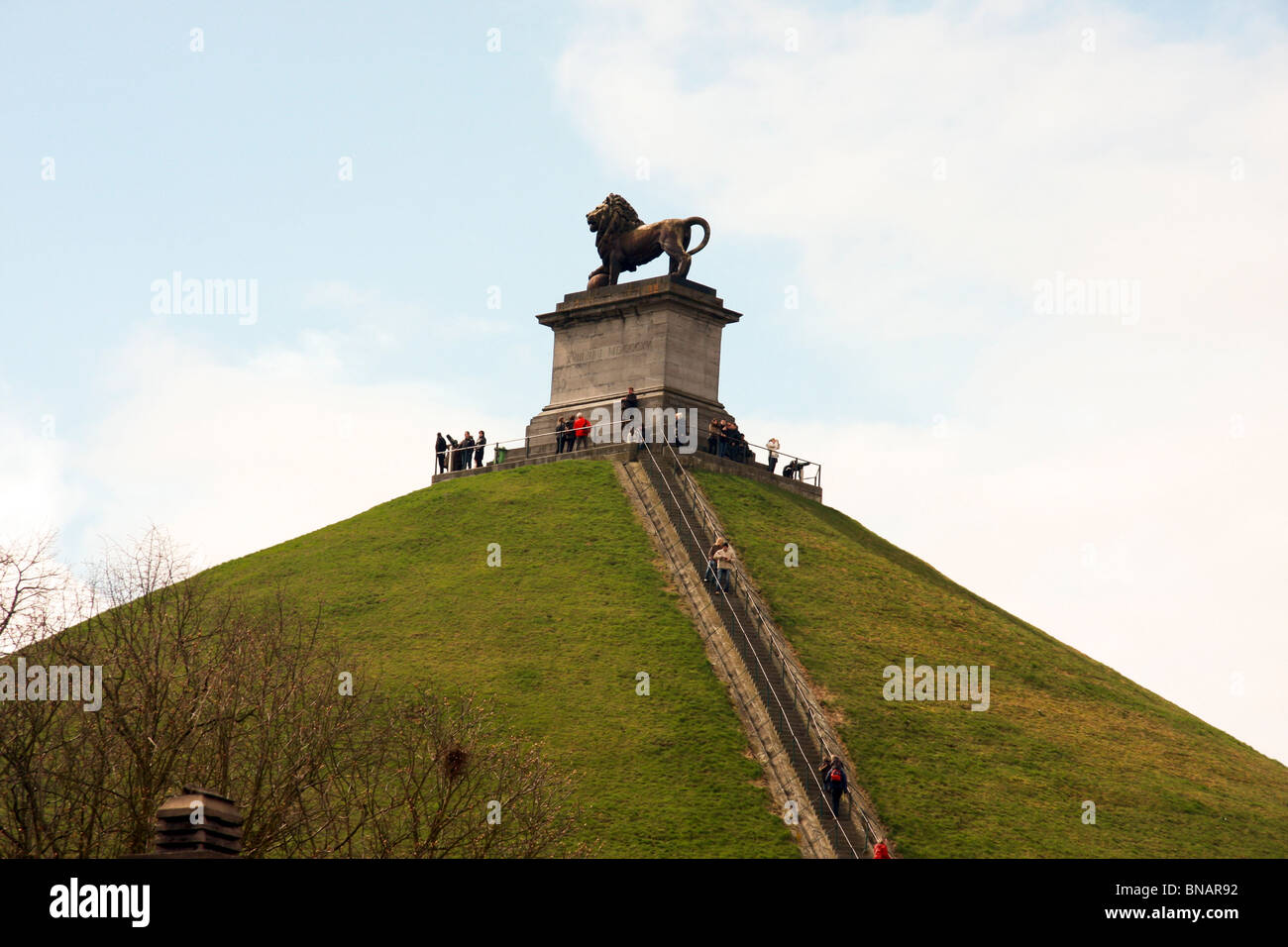 Belgium, Waterloo, the Lion hill on the battlefield - Stock Image
