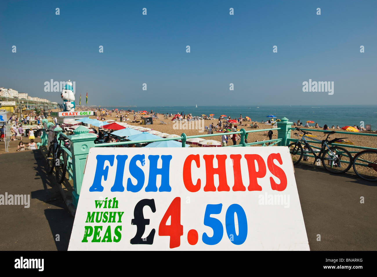 Fish and chips stall on the seafront, Brighton, East Sussex, United Kingdom - Stock Image