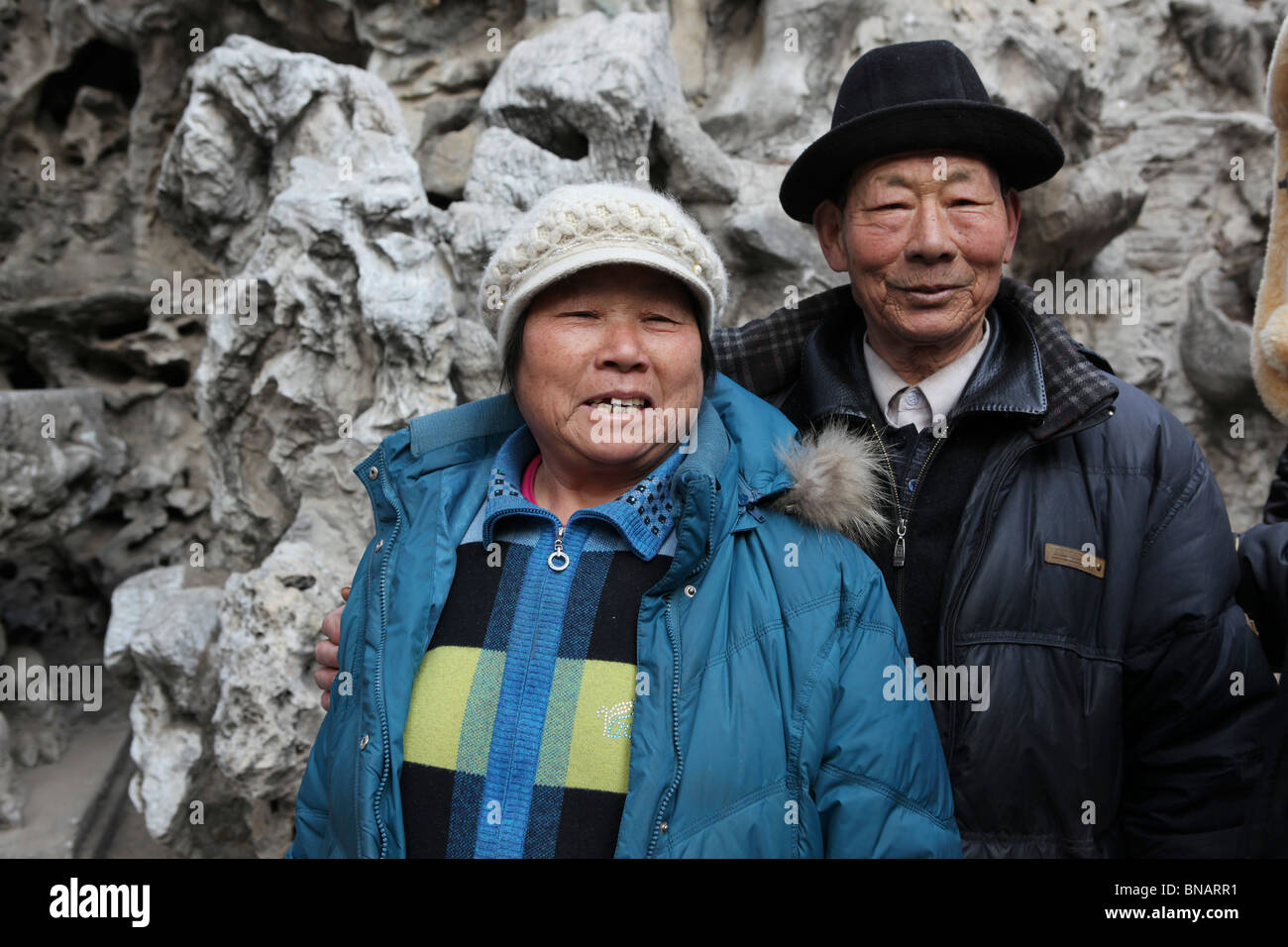 China, Beijing, The Imperial Palace in the Forbidden City Portrait of a  mature Chinese couple