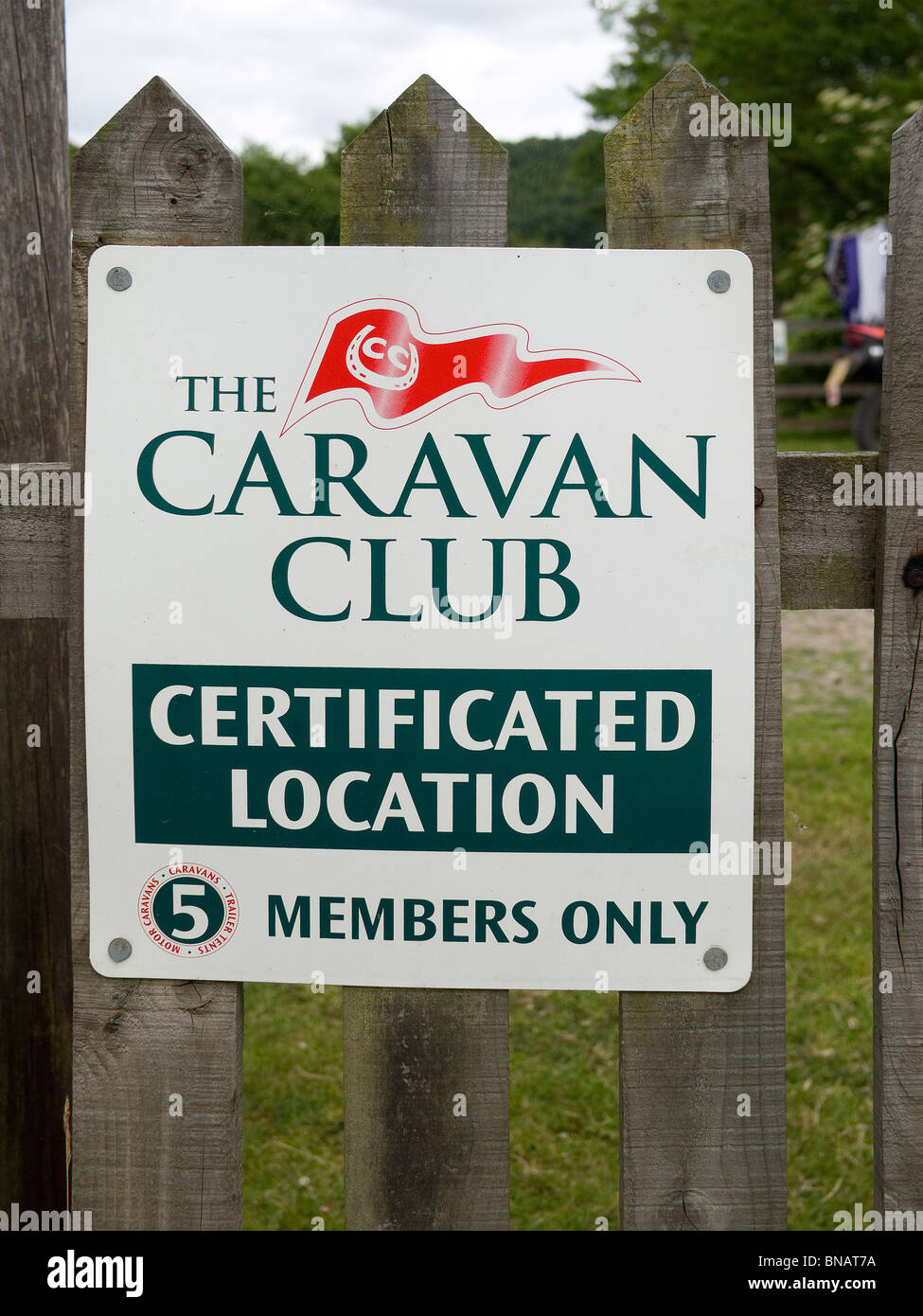A Sign For A Caravan Club Certificated Location For Only Five
