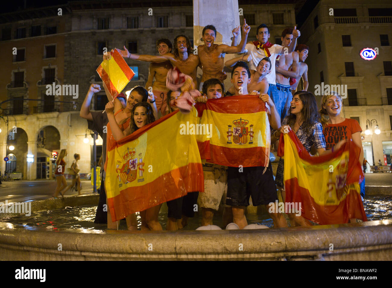 Spanish fans celebrate Spain's win over Germany in the FIFI World Cup semi finals. Passeig del Borne, Palma, - Stock Image