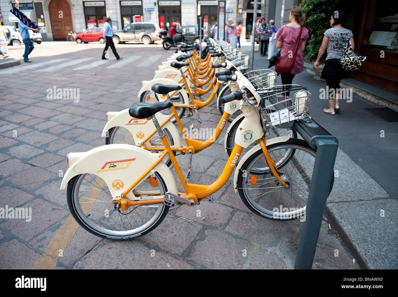 A BikeMi station  in Milano Italy, part of the city Bike sharing service - Stock Image