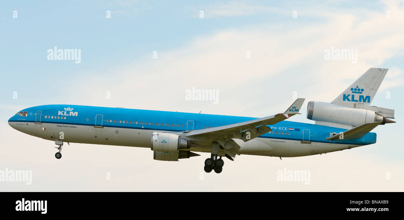 A KLM Royal Dutch Airlines McDonnell Douglas MD-11 commercial jet airliner on final approach for landing at Vancouver - Stock Image