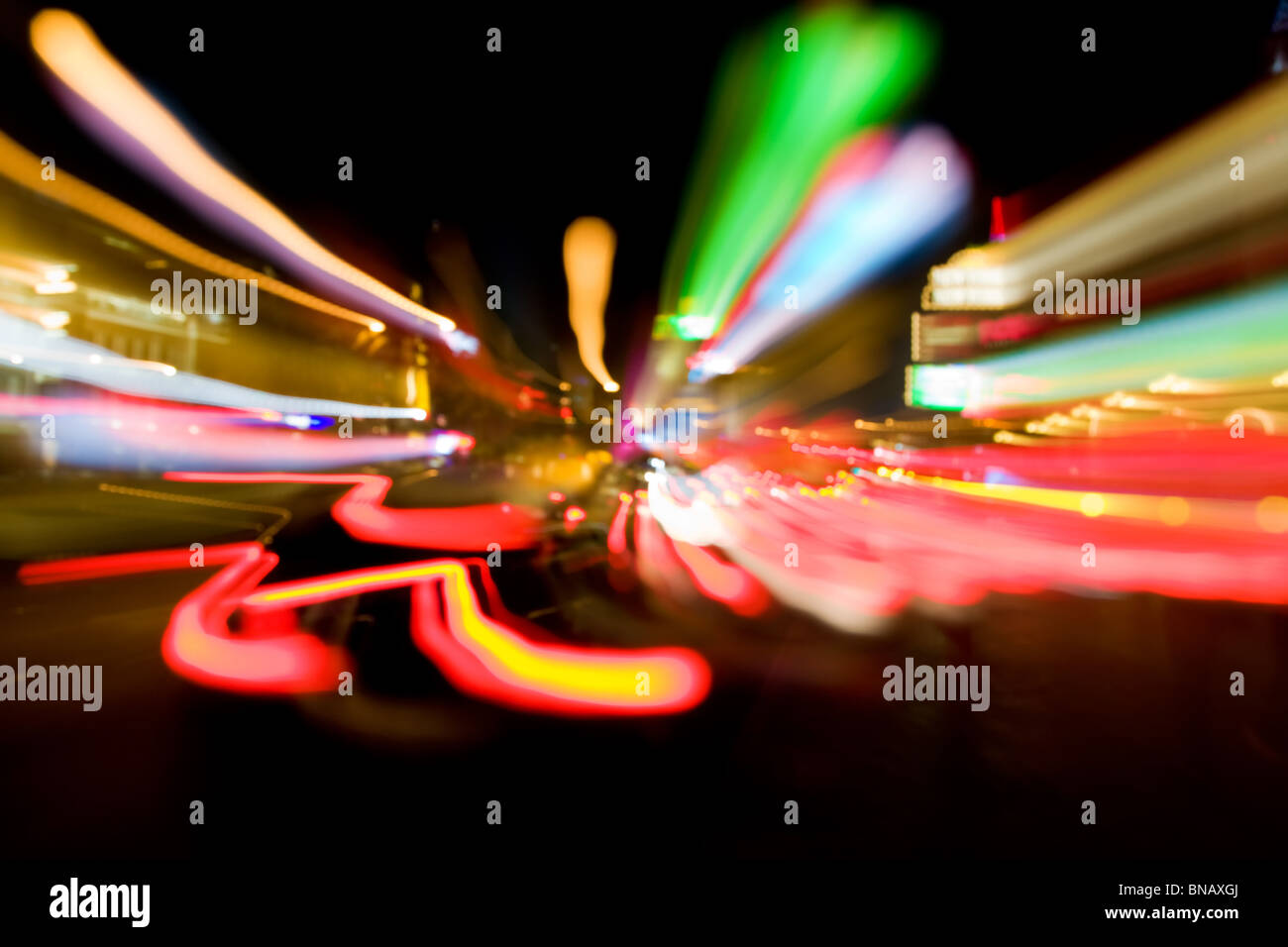 Abstract image of motion-blurred traffic lights in the streets of Las Vegas Stock Photo