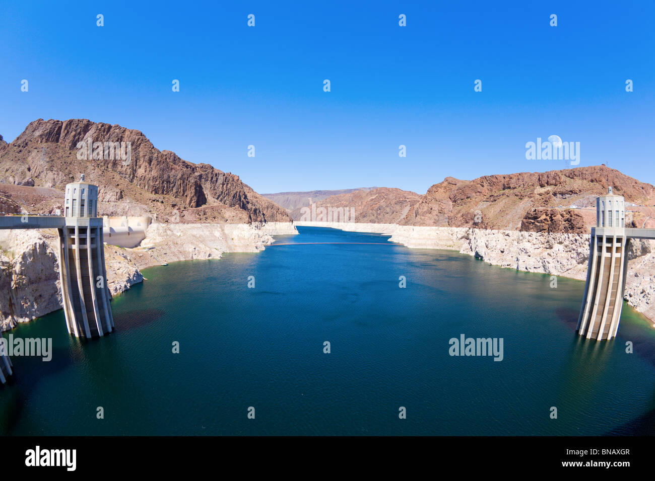 Lake Mead behind Hoover Dam Stock Photo