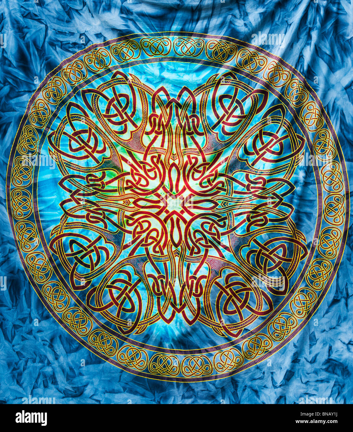 Colourful Celtic knotwork bedspread pattern - Stock Image
