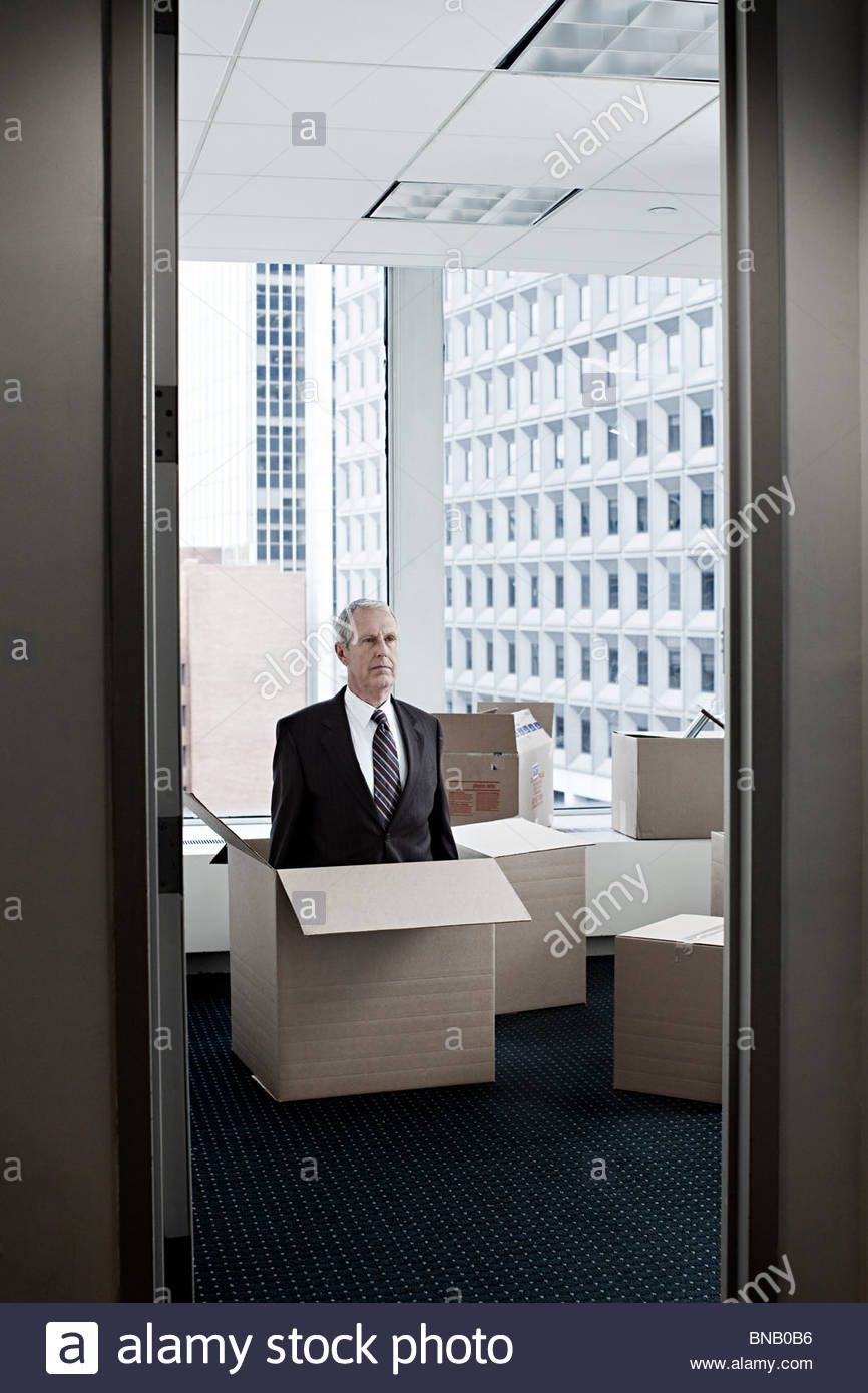 Businessman in cardboard box - Stock Image