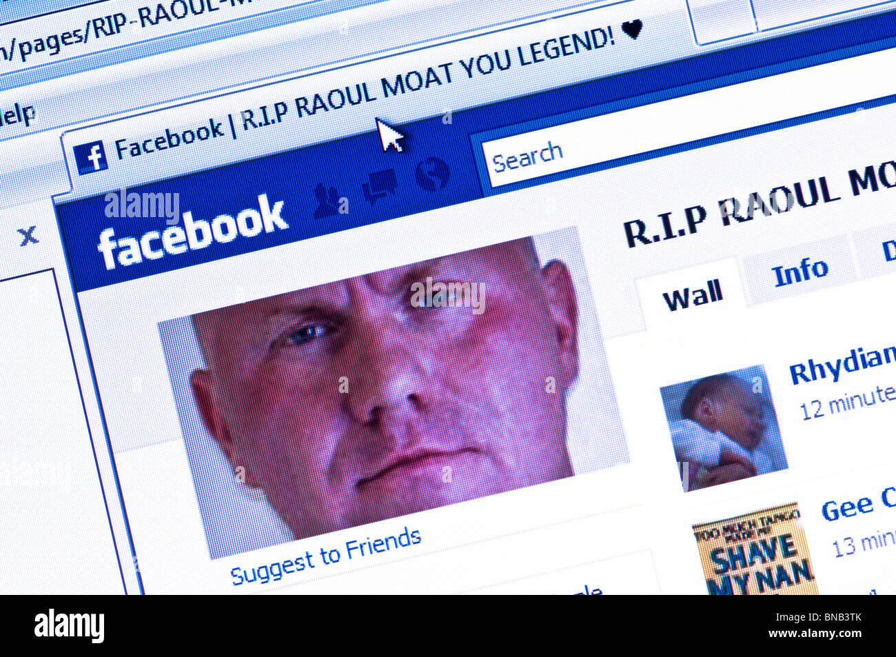 Controversial Raoul Moat Facebook tribute page - set up following his death in a showdown with armed UK police on - Stock Image