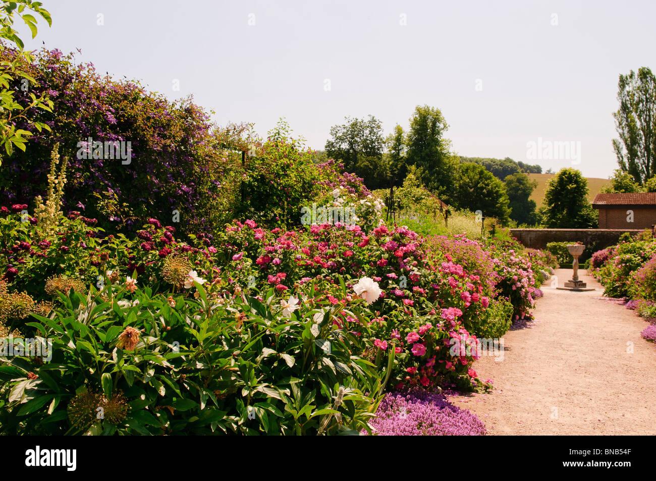 Pathway through the walled garden at West Dean Gardens, west Dean ...
