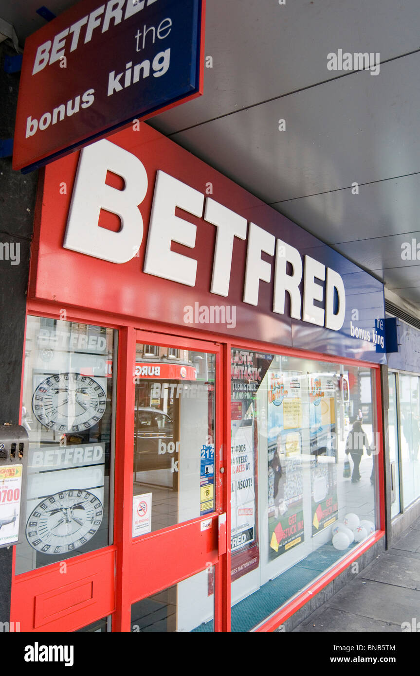 betfred bet betting shops shop bookmaker bookmakers bookies booky gambling gamble gambler gamblers wager chain high - Stock Image