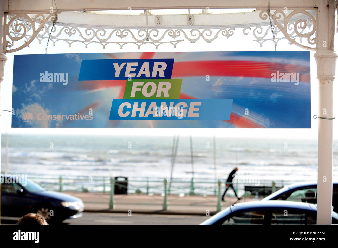 A Conservative banner saying Year For Change put up at Metropole Hotel ahead of their spring conference - Stock Image
