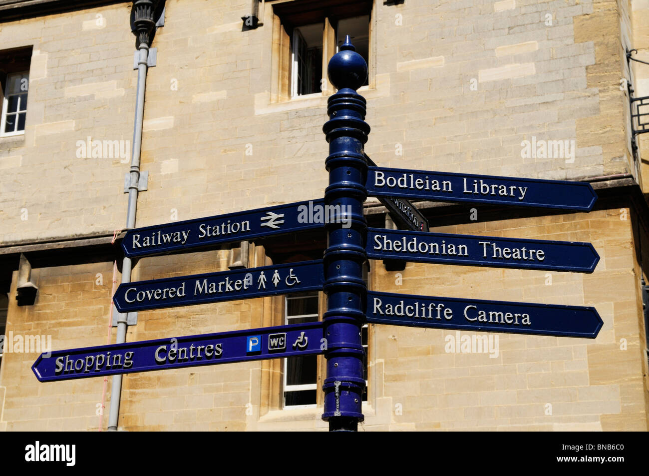 Signpost to Tourist attractions in Oxford, England, UK - Stock Image