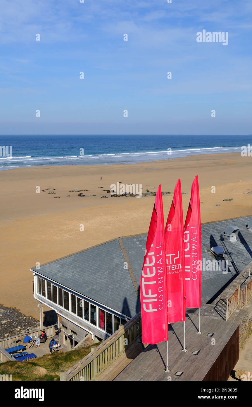 one of ' Jamie Olivers '  ' fifteen ' restaurants at watergate bay near newquay in cornwall, uk - Stock Image