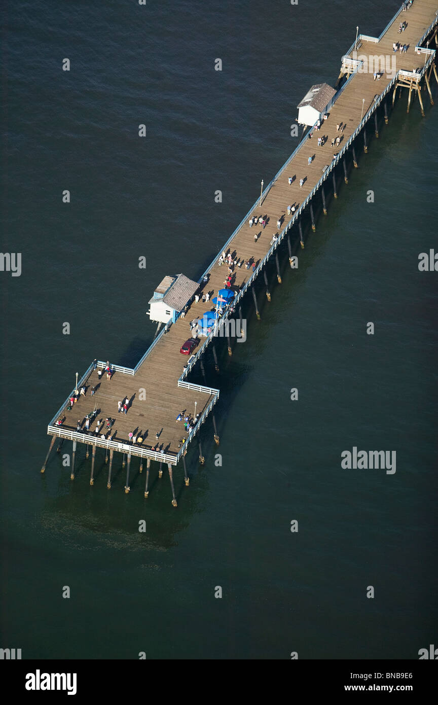 aerial view above San Clemente California pier Stock Photo