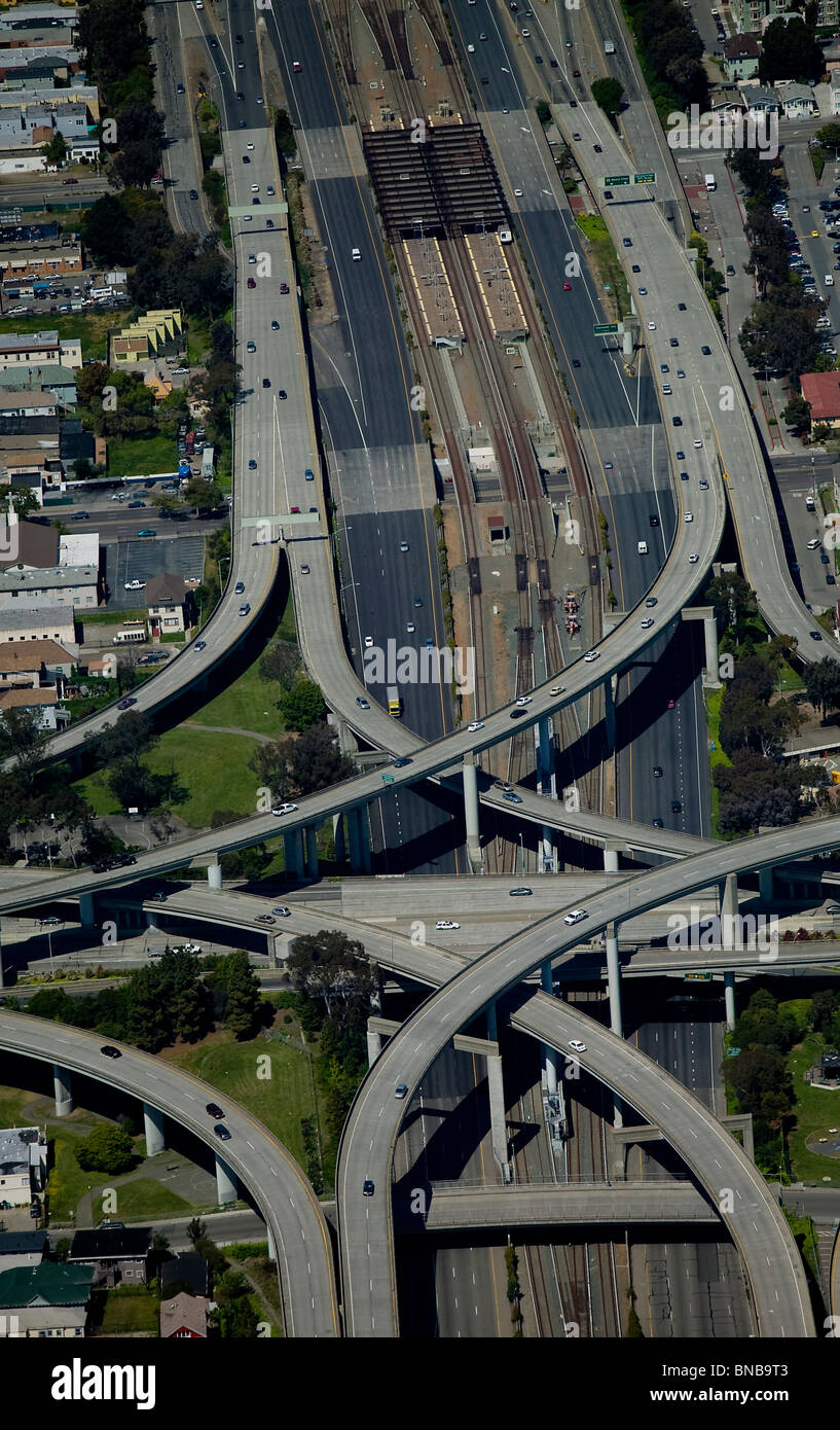 aerial view above Bay Area Rapid Transit BART freeway intersection Berkeley California - Stock Image