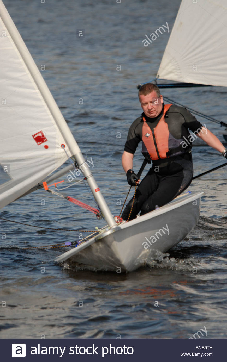 Yachtsmen in a race at Winsford Sailing club cheshire - Stock Image