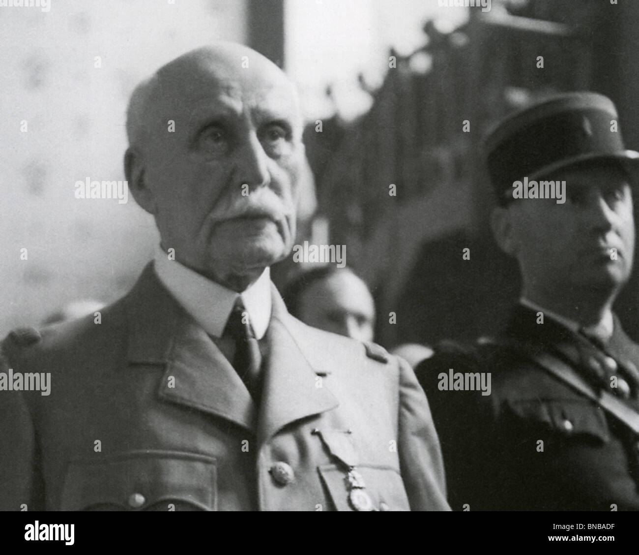 MARSHAL PHILIPPE PETAIN (1856-1951) French general at his trial for collaboration in August 1945 - Stock Image