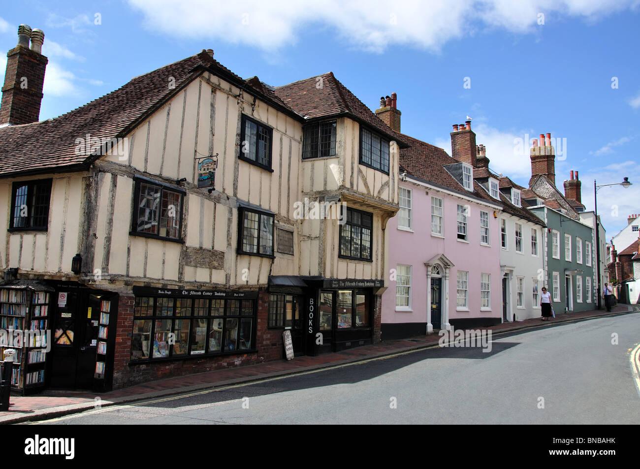 Fifteenth Century Bookshop, High Street, Lewes, East Sussex, England, United Kingdom - Stock Image