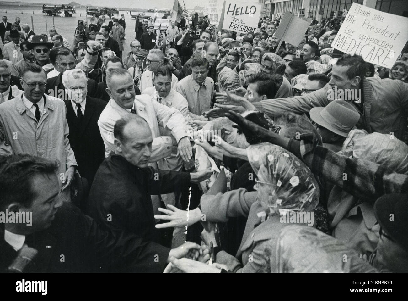 LYNDON B JOHNSON campaigning in the 1964 US Presidential elections which he won - Stock Image