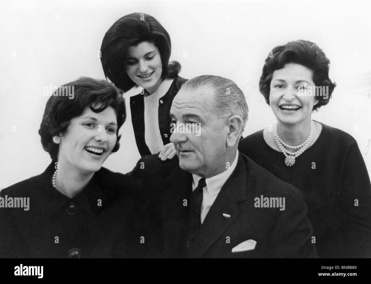 US PRESIDENT LYNDON BAINES JOHNSON with his family from left: Lynda Bird, Lucy Baines and his wife Lady Bird Stock Photo