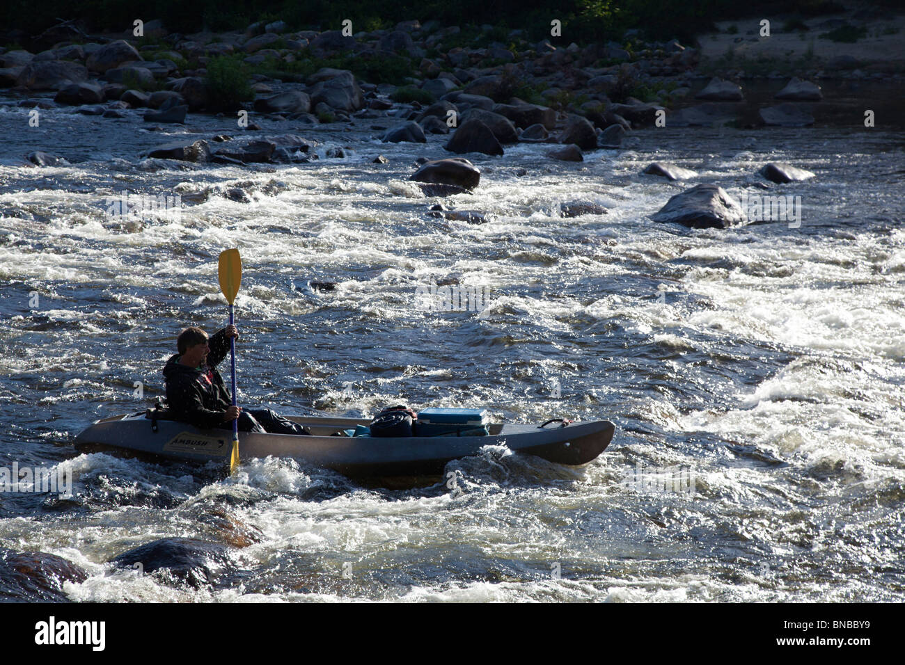A man paddles a canoe/kayak hybrid through rapids in the early morning on the Pemigewasset River - Stock Image