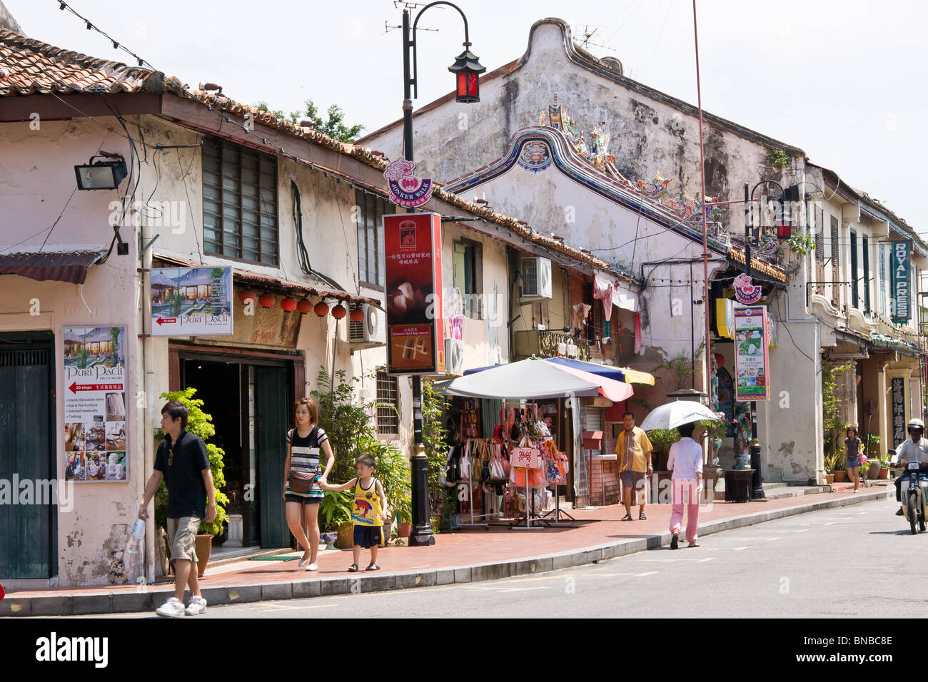 Street scene in Jalan Hang Jebat,, formerly known as Jonkers Street , Famous street in Melacca for antiques Stock Photo