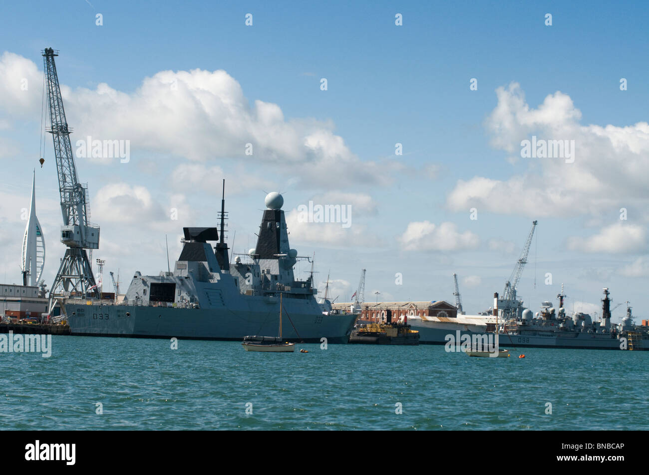 The new and the old the type 45 destroyer HMS Dauntless and old type 42 destroyers in Portsmouth Naval Base - Stock Image