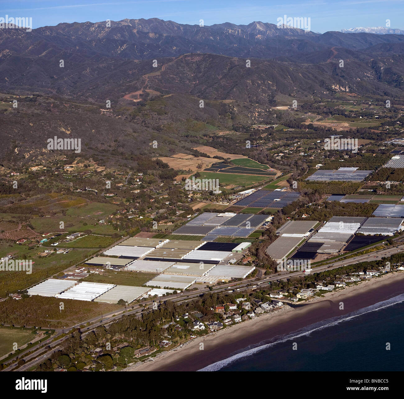 aerial view above nurseries greenhouses Santa Barbara county California - Stock Image