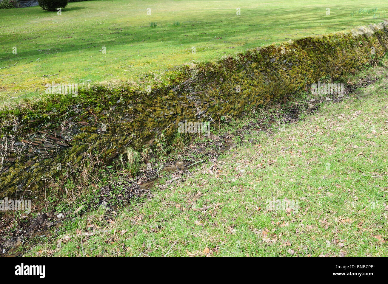 A Ha-ha a garden design trench -a fence concealed to protect the view Ceredigion Wales Cymru K GB - Stock Image