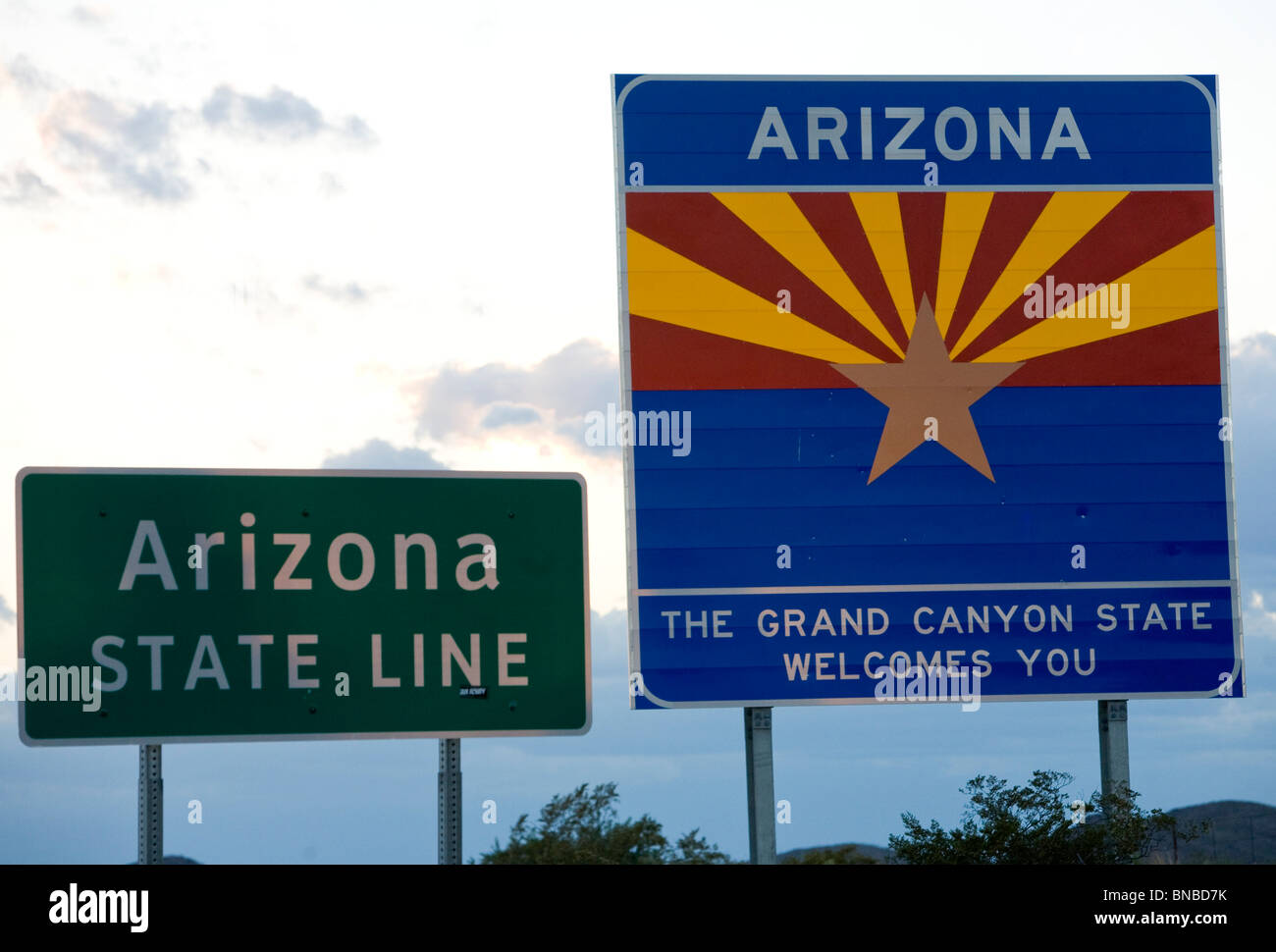 A 'Welcome To Arizona' sign. - Stock Image