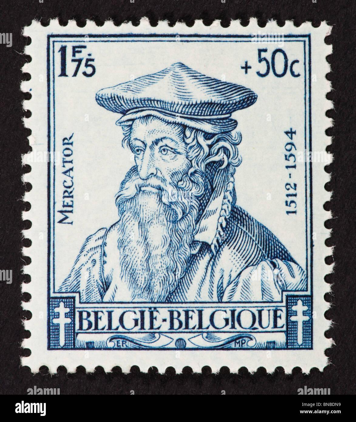 Postage stamp from Belgium depicting Gerardus Mercator. - Stock Image